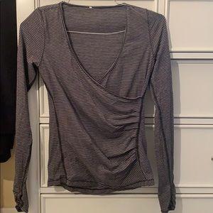 Black/grey striped Lululemon Ballet Wrap top
